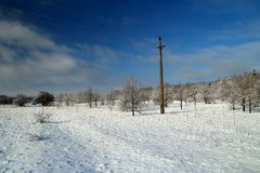 Övervintra landskapet på den Khortitsa ön i Zaporizhzhia Royaltyfria Foton