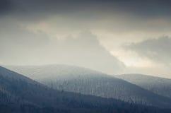 Övervintra landskapet som snö-täckas bergblast med träd Royaltyfria Bilder