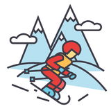 Övervintra loppet, skidåkareskidåkning i begrepp för höga berg vektor illustrationer