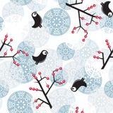 Övervintra modellen med busken, fåglar, bär. Arkivfoton
