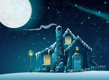 Övervintra natten med ett sagolikt hem i månskenet Royaltyfri Foto