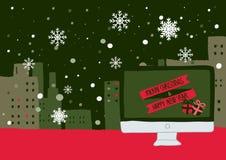 Övervintra platsen med snöflingor som faller över stadstak som är upplysta med julljus Stock Illustrationer