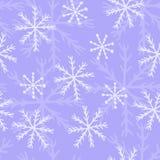 Övervintra sömlös vektorbakgrund med handen drog snöflingor, blåttfärger royaltyfri illustrationer