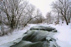 Övervintra sceniskt av floden Krynka, den Donetsk regionen, Ukraina Fotografering för Bildbyråer