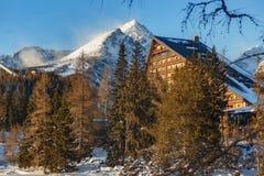 Övervintra sikten av den Strbske Pleso byn med hotellet, barrskogen och snöig maxima Royaltyfri Bild