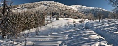 Övervintra sikten till den Lysa horaen och den Luksinec kullen från Butoranka Arkivfoton