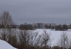 Övervintra, snöa, landskap, förkylning, skogen, trädet, naturen, is, himmel, frost, floden, sjön, träd, vatten, vit, säsongen som Arkivfoto