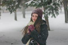Övervintra ståenden av en flicka i vinterskogen royaltyfria foton