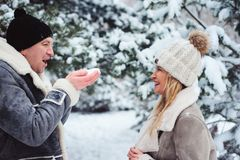 övervintra ståenden av lyckliga par som spelar, blåser snö och spenderar den utomhus- bra dagen i snöig skog arkivbild