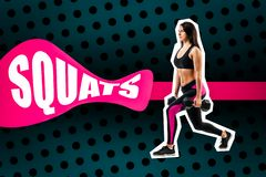 Övning av squats med vikt som utförs av en sportkvinna arkivfoto