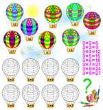 Övning för barn med multiplikation vid tre Royaltyfri Fotografi