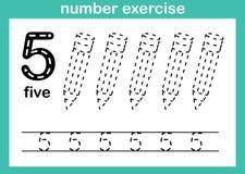 Övning för nummer fem stock illustrationer