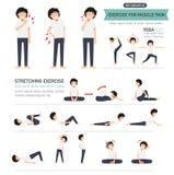 Övningen för muskel smärtar infographic stock illustrationer