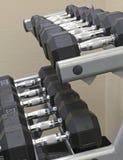 Övningsutrustning - hantlar på viktkuggen Arkivfoto