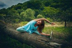 Övningsyoga för ung kvinna som är utomhus- på enormt grymt träd på monteringen arkivbilder