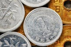Övre bild för extremt slut av mynt för japansk yen Royaltyfri Fotografi