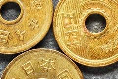 Övre bild för extremt slut av mynt för japansk yen Royaltyfri Foto