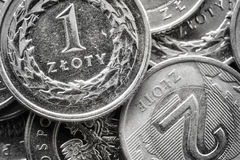 Övre bild för extremt slut av polska Zlotymynt Arkivbild