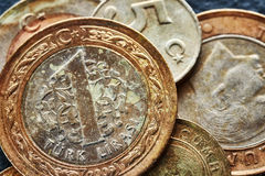 Övre bild för slut av gamla mynt för turkisk lira Royaltyfri Bild