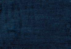 Övre blå grov bomullstvilltextur för slut med tomt kopieringsutrymme Arkivfoto