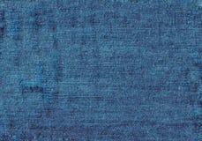 Övre blå grov bomullstvilltextur för slut med tomt kopieringsutrymme royaltyfria foton