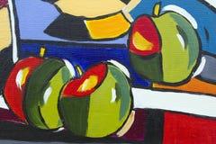 Övre detalj för original- slut för olje- målning - äpplen arkivfoton