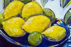Övre detalj för original- slut för olje- målning - citroner och limefrukter royaltyfria bilder