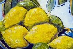 Övre detalj för original- slut för olje- målning - citroner och limefrukter arkivfoton