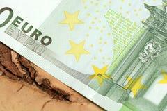 Övre detalj för slut av europengarsedlar Royaltyfria Foton