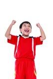 Övre gest för asiatisk för fotbollspelare arm för visning Handling av vinnaren eller Royaltyfri Bild
