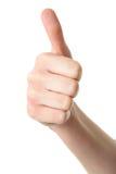 Övre gest för tum som isoleras på white Arkivbild