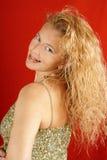 övre kvinna för blonda gröna sequins Arkivbild
