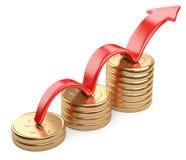 Övre röd pil och stångdiagramdiagram av guld- dollarmynt Arkivfoton