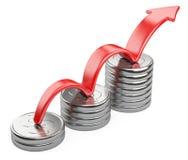 Övre röd pil och stångdiagramdiagram av silverdollarmynt Royaltyfri Foto