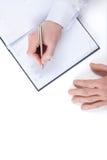 Övre sikt av writinghanden av affärsmannen royaltyfri fotografi