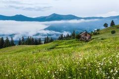 övre sikt för carpathian berg Huset är på en lutning i det gröna gräset, dimma, berg i avståndet Arkivfoton