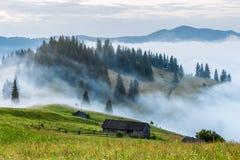 övre sikt för carpathian berg Huset är på en lutning i det gröna gräset, dimma, berg i avståndet Royaltyfria Bilder
