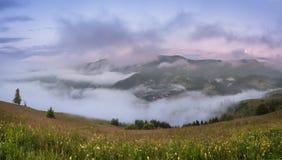 övre sikt för carpathian berg Panorama av dalen med dimma Royaltyfri Bild