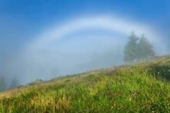övre sikt för carpathian berg Vit regnbåge i misten, täckte lutningar Royaltyfri Bild