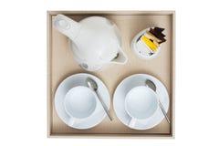 övre sikt för kaffeset Fotografering för Bildbyråer