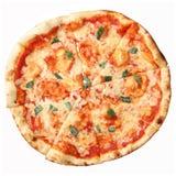 övre sikt för margheritapizza Arkivbild