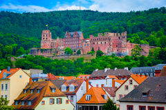 Övre sikt för slut av den Heidelberg slotten i Tyskland Royaltyfria Bilder