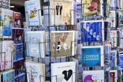 Övre sikt för slut av franska vykort fotografering för bildbyråer