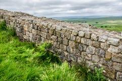 Övre sikt för slut av hadrians vägg Arkivbild