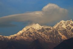 Övre sikt för slut av Khangchendzonga aka Kangchenjunga royaltyfri foto