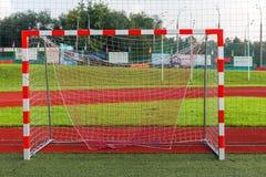 Övre sikt för slut på fotbollporten royaltyfria foton