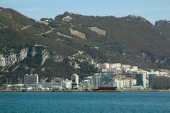 Övre sikt för slut på Rock av Gibraltar Arkivbilder