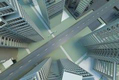 övre sikt för stad Arkivbilder