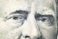 Övre siktsstående för slut av Ulysses S Lån på den en räkningen för dollar femtio Bakgrund av pengarna räkning för dollar 50 med  royaltyfria bilder