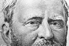 Övre siktsstående för slut av Ulysses S Lån på den en räkningen för dollar femtio Bakgrund av pengarna räkning för dollar 50 med  royaltyfri foto